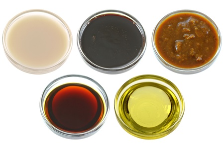 Different Bowls of Soybean  Soya beans  Products Stock Photo