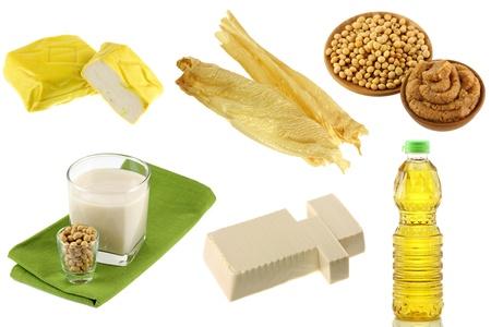 soja: Diferentes soja Habas de soja Productos - Tofu Amarillo, Tofu piel, pasta de miso, leche de soja, queso de soja suave Momen algodón, aceite de soja Foto de archivo