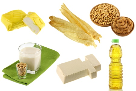 bean curd: Different Soybean  Soya beans  Products - Yellow Tofu, Tofu Skin, Miso Paste, Soy Milk, Soft Momen  Cotton Tofu , Soybean oil Stock Photo