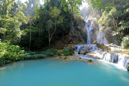 Beautiful Kuang Si Waterfall  Tat Guangxi , Luang Prabang, Laos photo