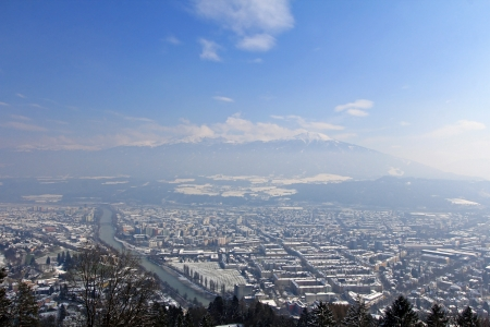 bird view: Bird view of the City of Innsbruck, from Hafelekarspitze in Tirol, Austria