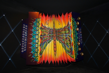 refractive: Wattens, Austria - March 26, 2013 : The Giant�s gigantic accordion, in this Chamber of Wonders, designed by Andr?eller - at Swarovski Crystal Worlds (Swarovski Kristallwelten)