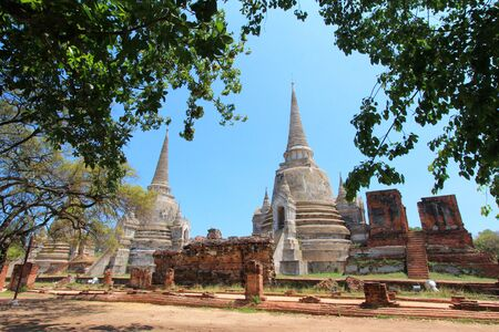 Old and ruined stately Chedi  Sri Lankan-styled stupas  at The largest temple in Ayutthaya - Wat Phra Si Sanphet, Thailand photo