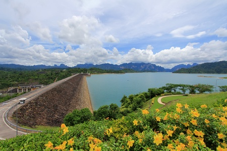 Cheow Lan Dam  Ratchaprapa Dam  at Khao Sok National Park, Surat Thani province, Thailand photo