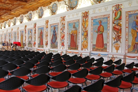 ferdinand: INNSBRUCK, AUSTRIA   The Spanish Hall at Schloss Ambras  Ambras Castle  on August 13, 2012  This hall was constructed during the Renaissance in 1569- 1572 according to the requirements of Archduke Ferdinand II