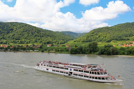 Tourists cruises along the Danube river, Wachau, Austria Stock Photo - 21417719