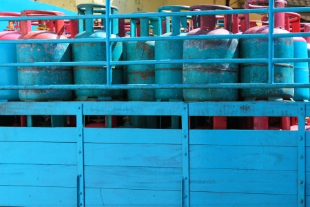 A truck load of Blue 14 Kilogram Gas Cylinders - Liquefied Petroleum Gas  LPG  photo