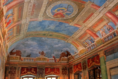 banqueting: Salzburg, Austria - August 14, 2012   Beautiful ceiling at the Banqueting hall, painted by by Arsenio Mascagn, at Schloss Hellbrunn
