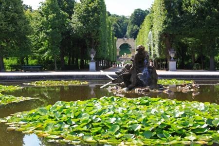 schloss schoenbrunn: Vienna, Austria - August 9, 2012   Naiad fountain in the lily pond at Schloss Schoenbrunn Palace, A UNESCO World Cultural Heritage in Vienna - Austria
