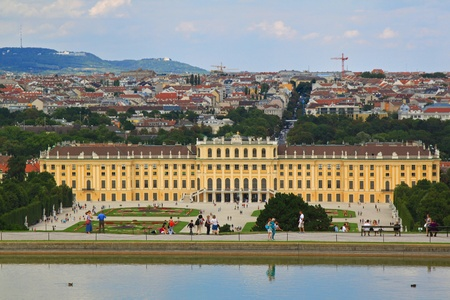 the gloriette: Vienna, Austria - August 9, 2012   Schloss Schoenbrunn Palace, view from the Gloriette with Vienna city in the Background Editorial