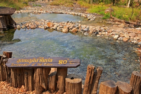 lon: Pai, Thailand - 9 March 2012   Pong Name Lon Tha Pai Hot Springs in the Huai Nam Dang National Park, Mae hong son, Thailand  The water has an average temperature of 80 degrees Celsius