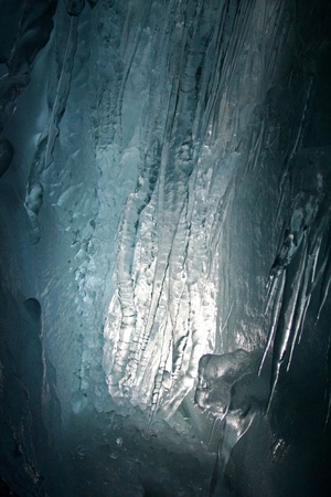 explored: Natural Ice Palace  Ice Cave   Stock Photo