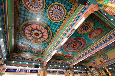 Beautiful and Colorful Ceiling of the Main Prayer Hall at Sri Mahamariamman Indian Temple, Kuala Lumpur, Malaysia