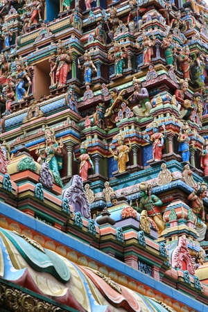 incarnation: Details of the Gopuram  large pyramidal tower , The signature architecture of the entrance at Sri Mahamariamman Indian Temple, Kuala Lumpur, Malaysia