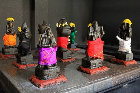 popularly: Black Statues wrapped in colorful fabric at Sri Mahamariamman Indian Temple, Kuala Lumpur, Malaysia