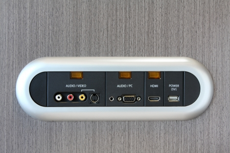 Modern HDMI TV Audio Video Connection Panel at the hotel photo