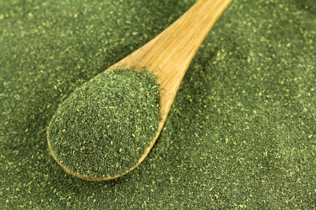 A spoon of fine Japanese green tea powder, Matcha Tea