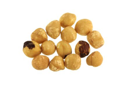 Closeup photo of Roasted and Salted Filbert Nuts, hazelnut isolated on white photo