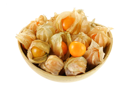 cape gooseberry: Fresh Cape Gooseberry in a wooden bowl isolated on white