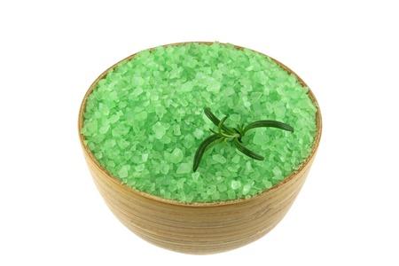 Sea Salt Bath with Algae extract in a wooden bowl, great body scrub