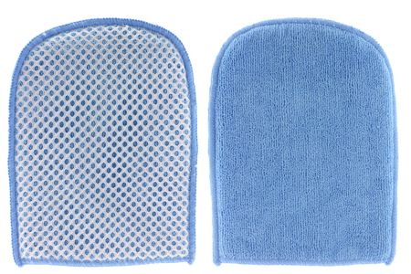 Bath and Tile Mitt with mesh scourer   microfiber cleaning cloth photo