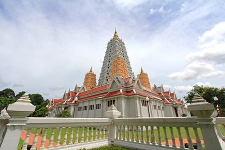 patronage: PATTAYA, THAILAND - AUGUST 2013   Pagodas at Wat Yannasangwararam Worawiharn temple complex in Pattaya, Chonburi province, Thailand  The temple was constructed in 1976 and is now under the patronage of the King Rama IX  Editorial