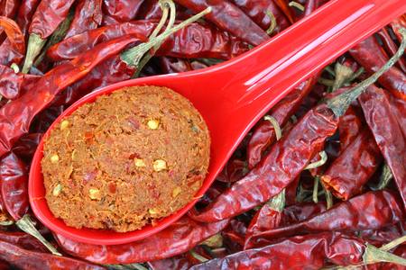 make a paste: A spoon of Thai Curry Paste to make spicy curries on dried chilies