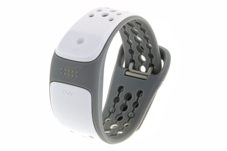 BANGKOK, THAILAND - JULY 2014   The MIO LINK heart rate monitor Wristband in white and gray color isolated on white on 17 July 2014 in Bangkok, Thailand  MIO LINK uses LED lights and an electro-optical cell to sense the volume of blood under the skin with