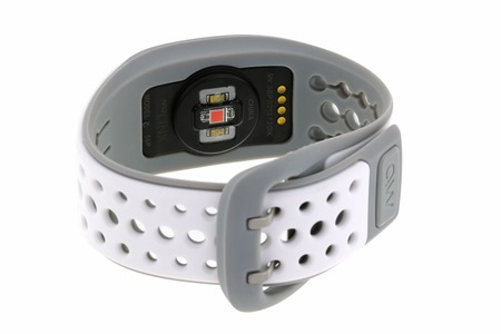 The MIO LINK heart rate monitor Wristband in white and gray color isolated on white on 17 July 2014 in Bangkok, Thailand. MIO LINK uses LED lights and an electro-optical cell to sense the volume of blood under the skin without using a chest strap. Publikacyjne
