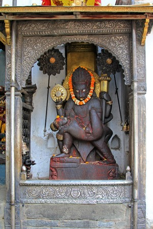 incarnation: Statue of Lord Narasimha killing Hiranyakashipu at Hanuman Dhoka in the Durbar Square, Central Kathmandu, Nepal. Lord Narasimha is the half-man, half-lion incarnation of Lord Vishnu)