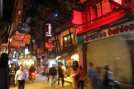 kathmandu: People walking around on Mandala Street at Thamel district in Kathmandu, Nepal. Thamel is the main entertainment and nightlife district of Kathmandu. Editorial
