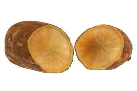 Fresh Yacon (Peruvian ground apple) cut in half, isolated on white photo