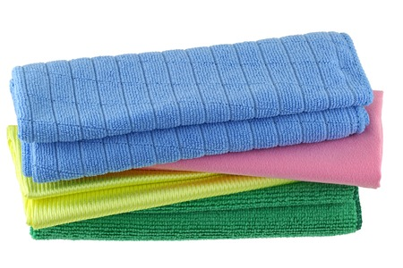 dishcloth: Different types of Micro Fiber cleaning cloth with static electricity that attracts dust Stock Photo