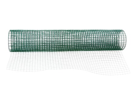steel wire: A roll of metal net coated with green PVC, isolate on white