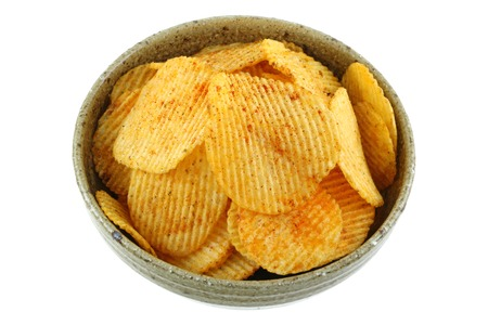 bowls: A bowl of fried potato chips with Thai Larb Flavor isolated on white