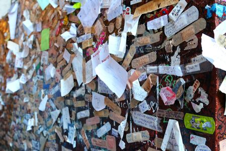 love declaration: A wall full of names and love declaration near Juliets house in Verona Italy on September 13 2014. Romeo and Juliet is a tragedy written by William Shakespeare.