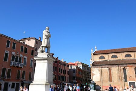 hang out: People hang out at Statue of Nicolo Tommaseo monument in Venice Italy on September 14 2014. Nicolo Tommaseo was a linguist journalist essayist and Italian irredentism.