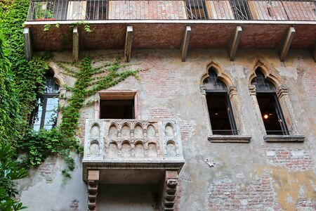 juliets: The famous balcony of the Juliets House Casa di Giulietta where Romeo declared his love in Verona Italy on September 13 2014. Romeo and Juliet is a tragedy written by William Shakespeare.