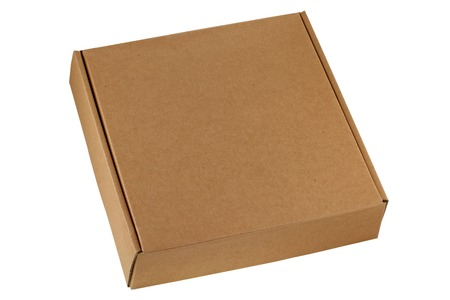 A brown pizza box, being closed, isolated on white Standard-Bild