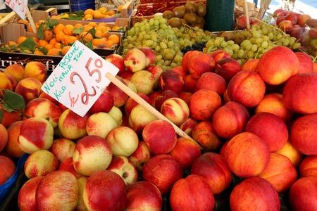 rialto: Fresh nectarine, peach, apricot, grape, kiwi for sale at the Rialto Market, Venice, Italy