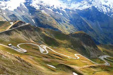 hochalpenstrasse: View of the Grossglockner High Alpine Road Hochalpenstrasse. The windy road with 36 bends that leads to the heart of the Hohe Tauern National Park in Austria.