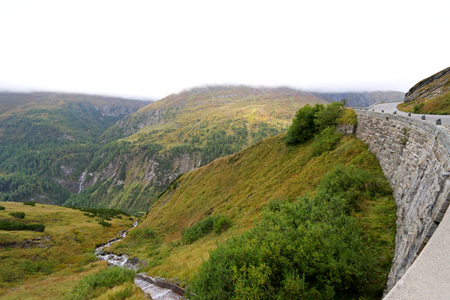 tauern: Foggy view of the Grossglockner High Alpine Road Hochalpenstrasse at Hohe Tauern National Park in Austria.