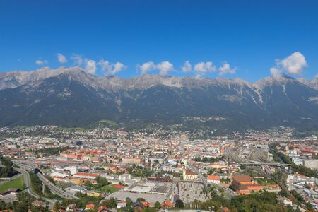 western state: Landscape view of the Innsbruck city in Austria during Autumn season. Innsbruck is the capital of Austrias western state of Tyrol.