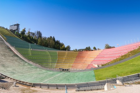 ski jump: The Bergisel Ski Jump stadium, known as Bergisel Schanze, located on Bergisel hill in Innsbruck, Austria on September 23, 2014. It is one of the main attractions of the city of Innsbruck. Editorial