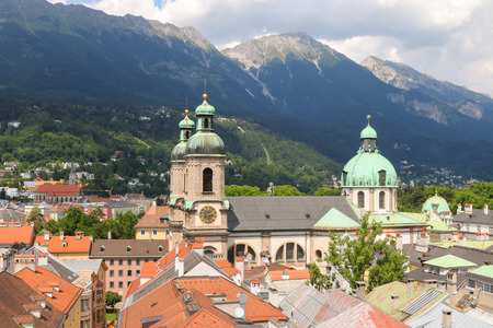 bird view: Bird view of roofs and buildings in Innsbruck city, Austria on July 11, 2015. Photo taken from City Tower Stadtturn. Editorial
