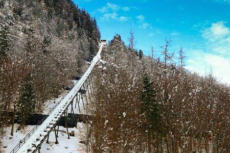 railway history: Rail tracks of Hallstatt Salt Mountain Railway Salzbergbahn in Hallstatt, Austria during Winter season
