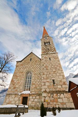 evangelical: The Evangelical Church in Salzkammergut, Hallstatt in Austria during Winter season