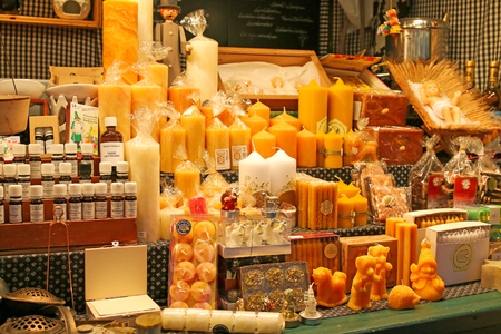 wax sell: Natural Beeswax products sold at Christmas Market in Innsbruck, Austria on December 21, 2014. Photo taken at night time.