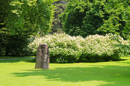 rock garden: The energy stone at the Hofgarten park in Innsbruck, Austria. It marks the lung point , important energy point, improves energy flow and enhances energy potential in the city of Innsbruck. Stock Photo