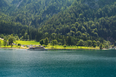 cruising: A ferry boat cruising along the Achensee Lake in Tirol, Austria, Central Europe on July 12, 2015. The Achensee is the largest lake within the federal state, and has a maximal depth of 133 metres.
